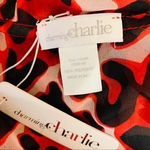 Charming Charlie Accessories - Charming Charlie Red Animal Print Infinity Scarf
